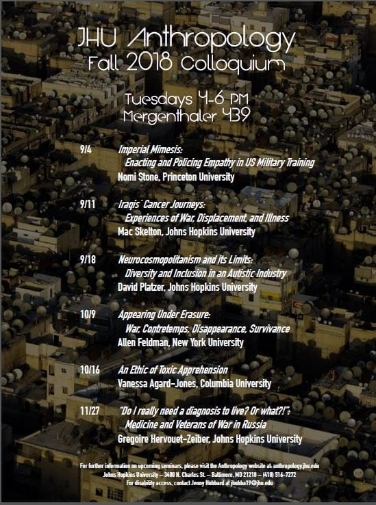 JHU Anthropology Fall 2018 Colloquium Series