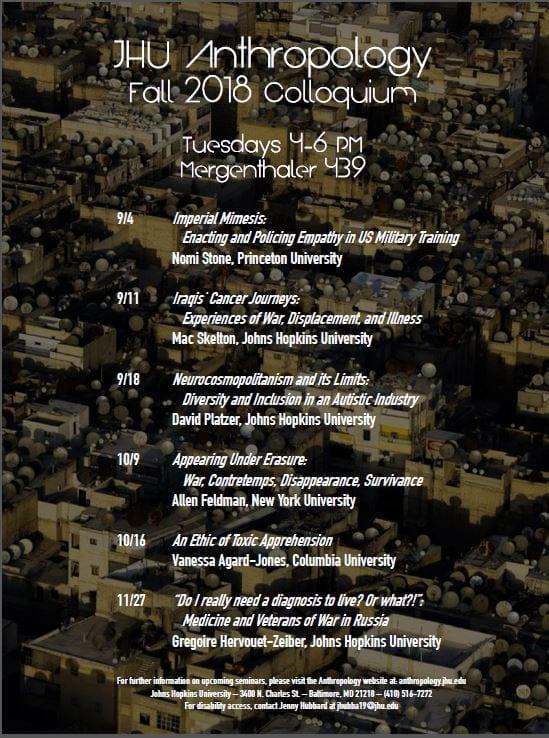 JHU Anthropology Fall 2018 Colloquium Series