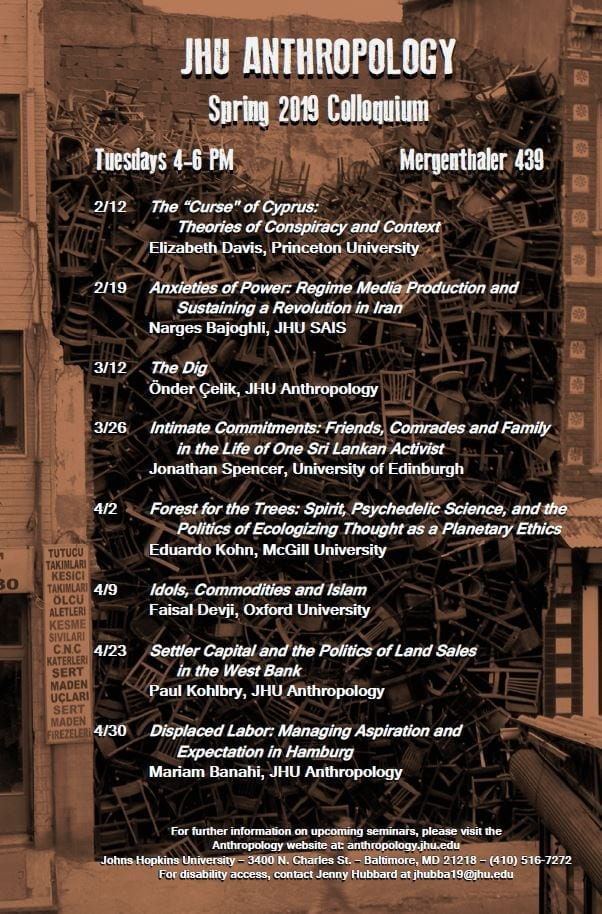 JHU Anthropology Department Spring 2019 Colloquium Schedule