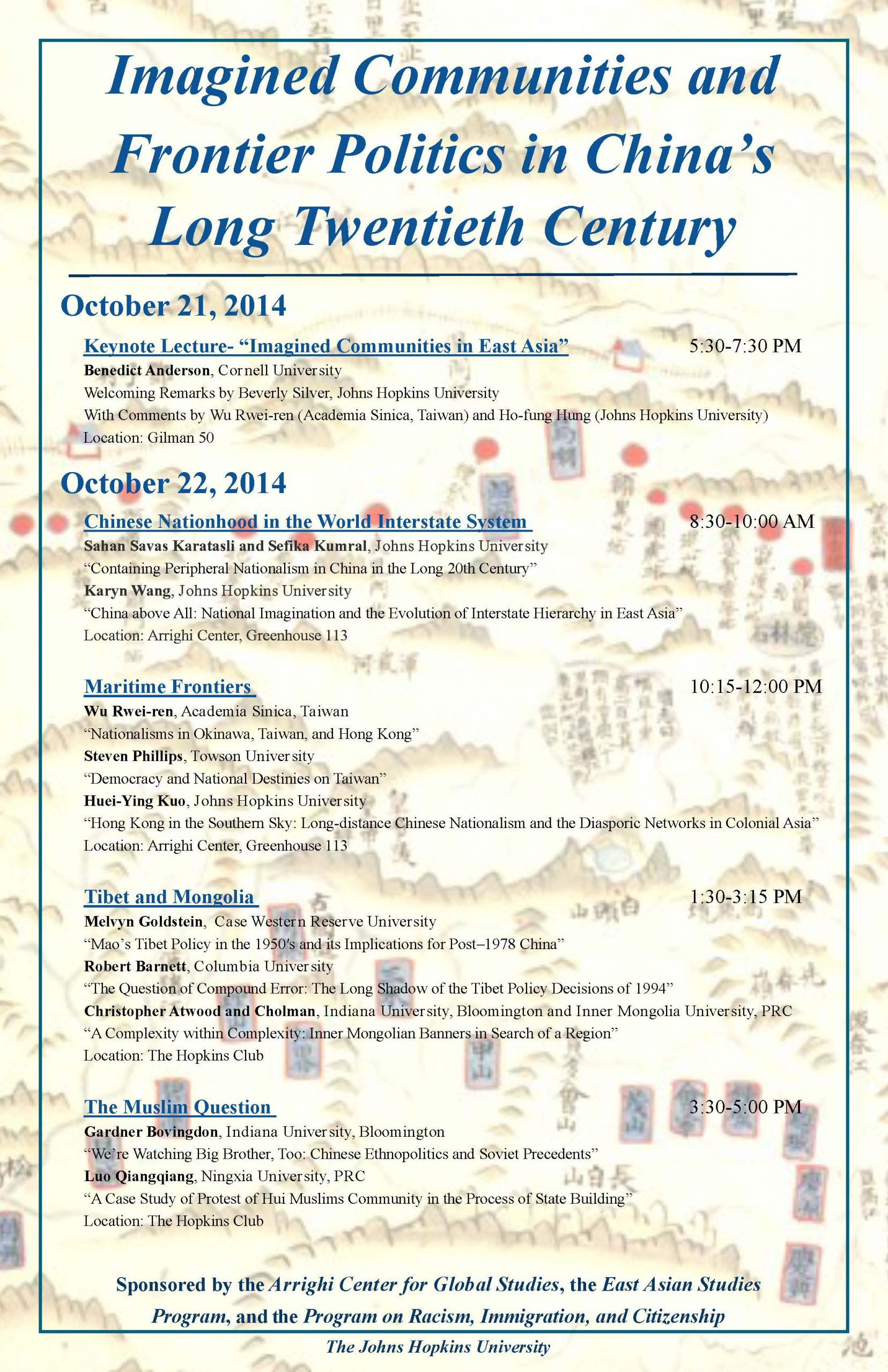 """Mini-conference on """"Imagined Communities and Frontier Politics in China's Long Twentieth Century"""", October 21-22, 2014"""