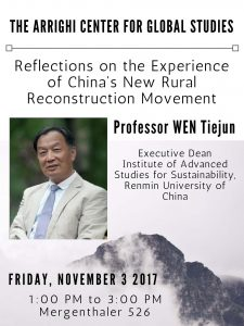 WEN Tiejun: Reflections on the Experience of China's New Rural Reconstruction Movement @ Mergenthaler 526