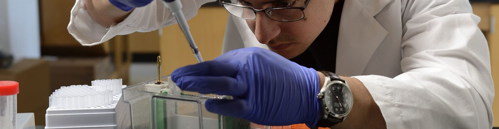 student concentrated on lab work, leaning over project in gloves