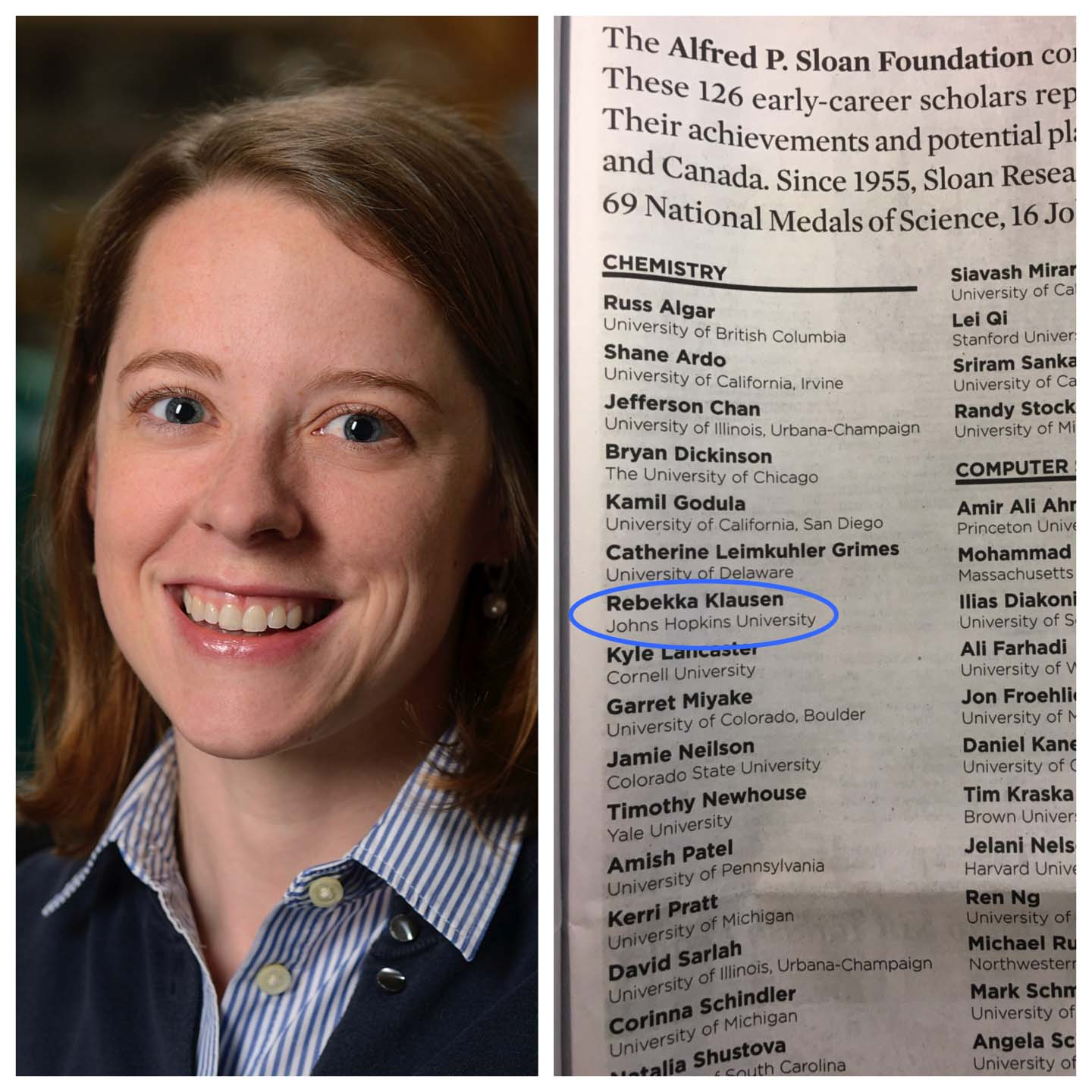 Dr. Klausen Named Alfred P. Sloan Research Fellow, Featured in New York Times