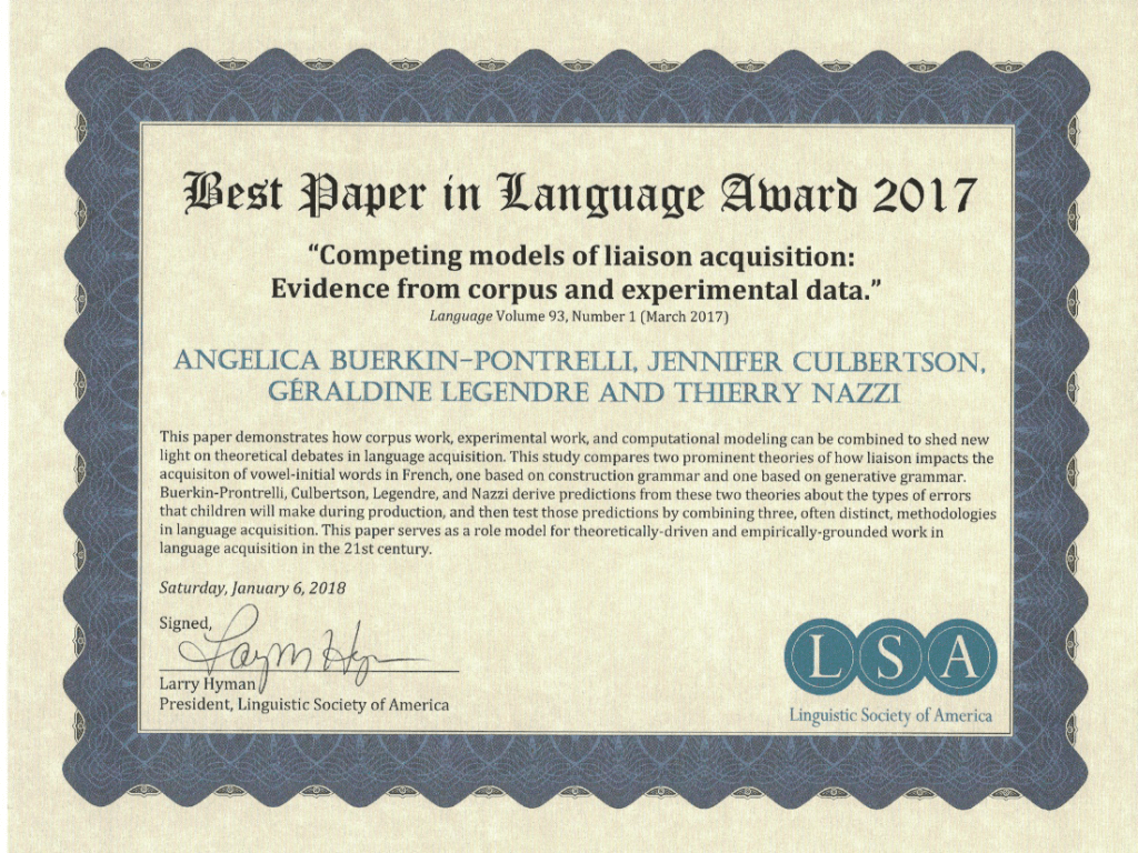 Best Paper in Language Award 2017