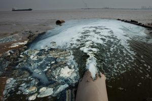 The chemical industrial park of Yanwei Port in Lianyungang City discharges sewage to the sea. Lianyungang City, Jiangsu, 2009.