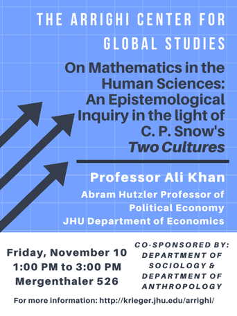 "Professor Ali Khan gave a seminar entitled ""On Mathematics in the Human Sciences"""