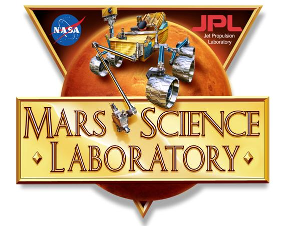 triangular logo of the Mars Science Laboratory with the Mars rover on it