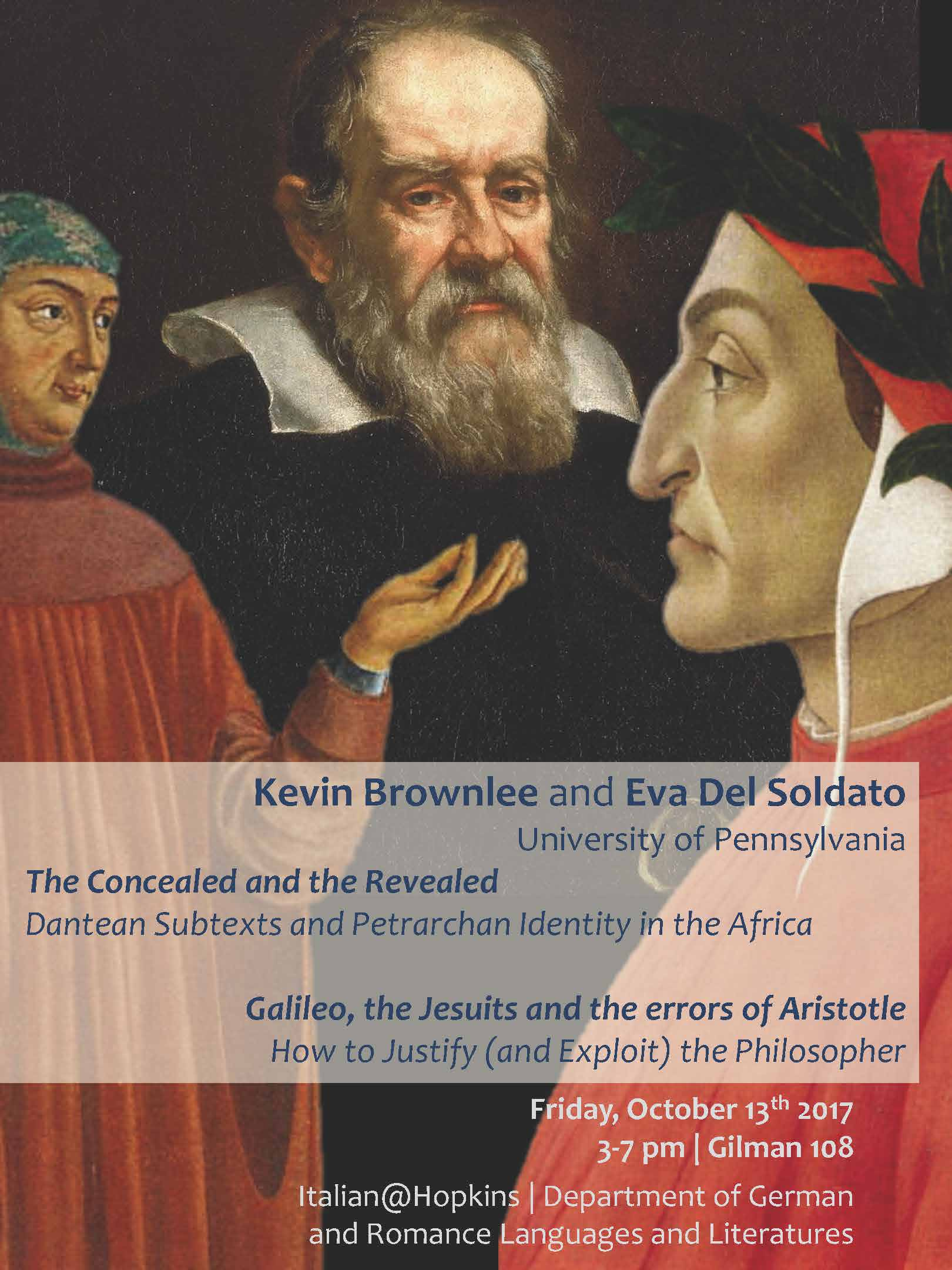 Lectures by Eva Del Soldato and Kevin Brownlee coming October 13