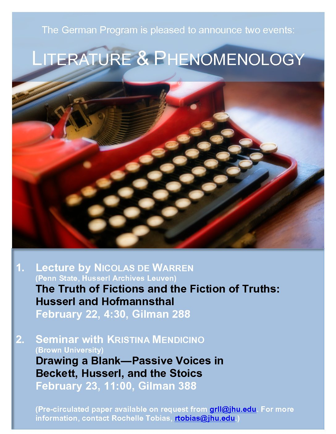 Drawing a Blank—Passive Voices in Beckett, Husserl, and the Stoics, Seminar with Kristina Mendicino (Brown)