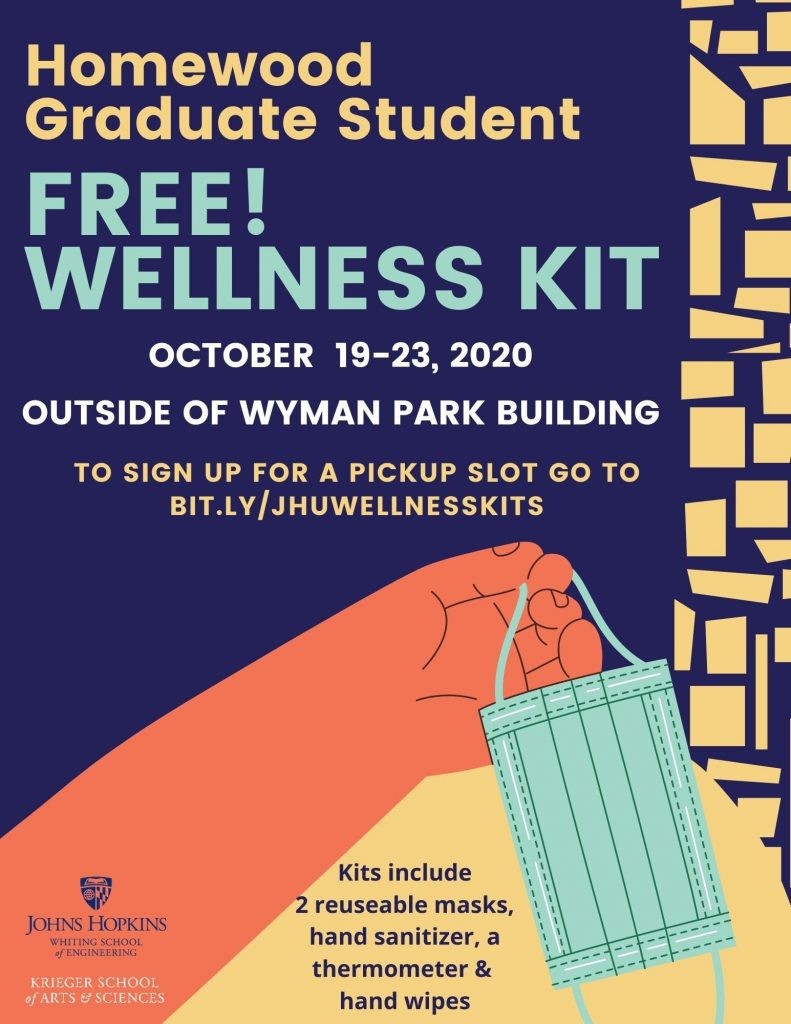 Decorative flyer repeating the text of the headline and news blurb: dates and signup link to pick up a wellness kit.