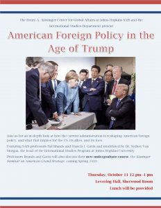 American Foreign Policy in the Age of Trump @ Levering Hall, Sherwood Room