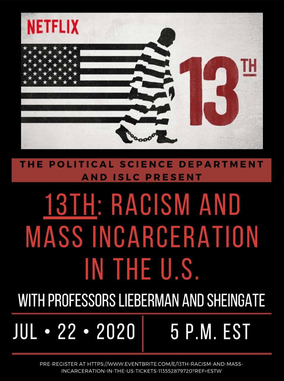 ISLC Summer Speaker Series: Racism and Mass Incarceration in the U.S.
