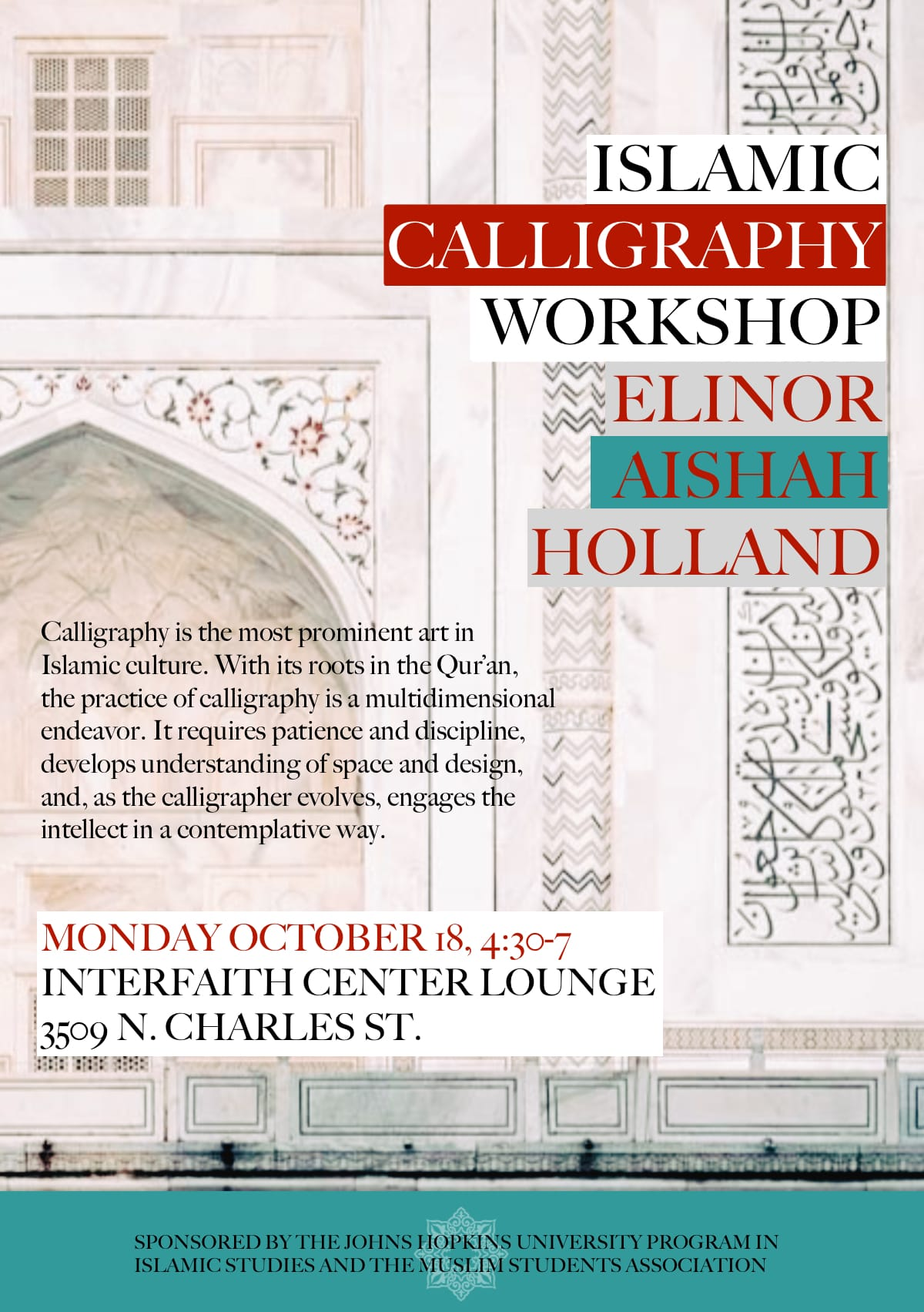 Monday 10/18: Islamic Calligraphy, an In-Person Class for Beginners