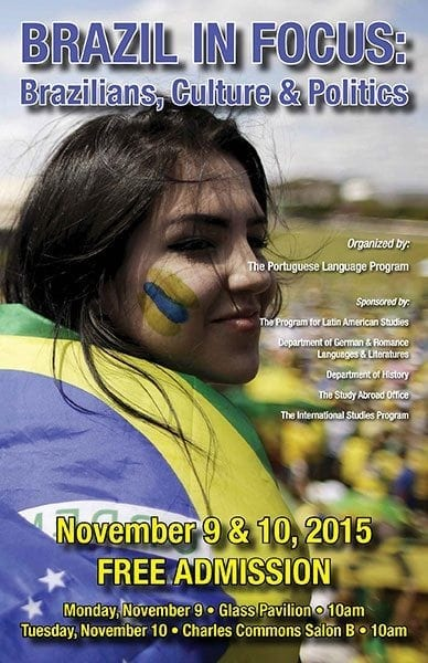 2015 symposium in Brazil flyer with woman wearing Brazilian flag like a scarf