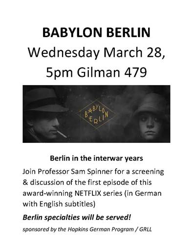 """""""Babylon Berlin"""" Watch Party! With Snacks! March 28 @ 5"""