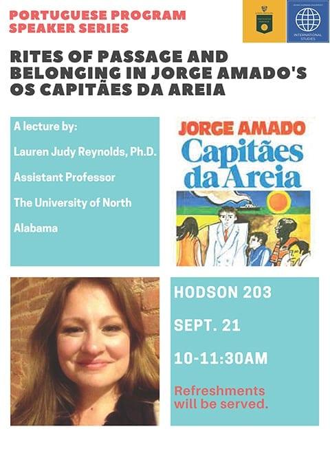 Lauren Judy Reynolds, PhD, Presents Lecture on Jorge Amado's Capitães da Areia