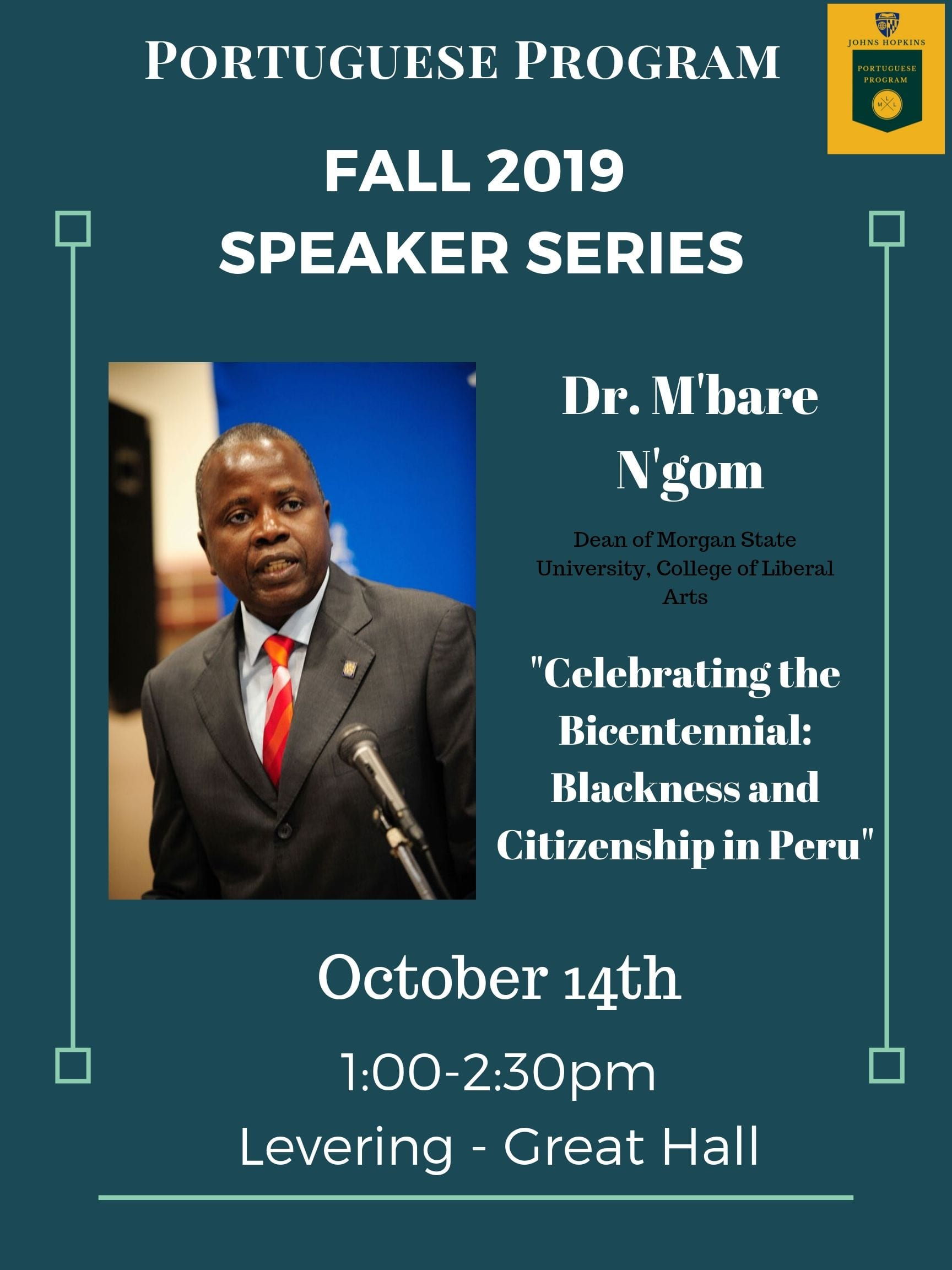 Portuguese Program Fall Speaker Series: Dr. M'bare N'gom