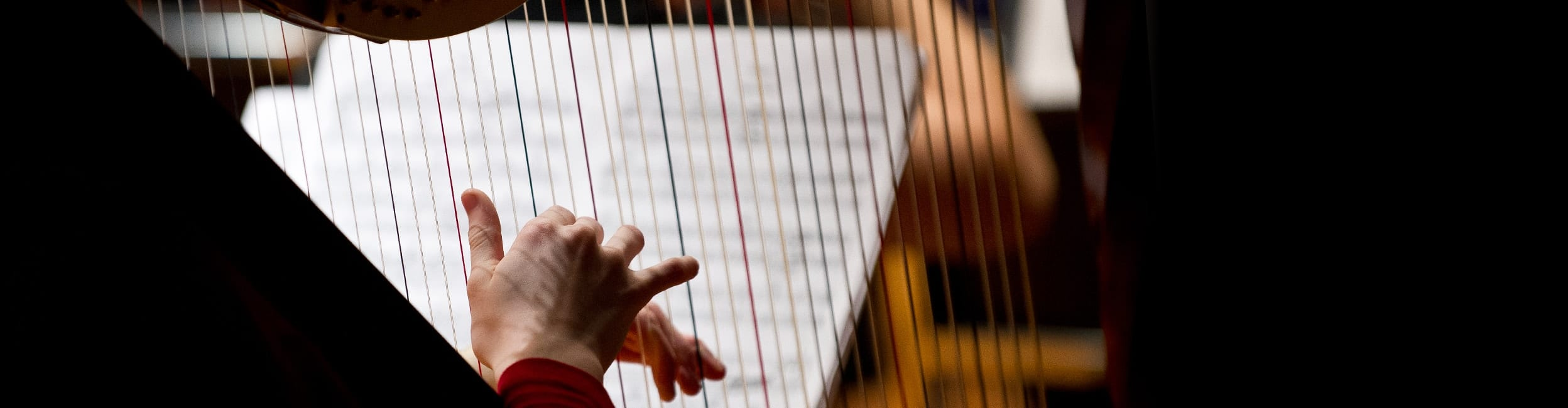 close-up photo of hands playing harp