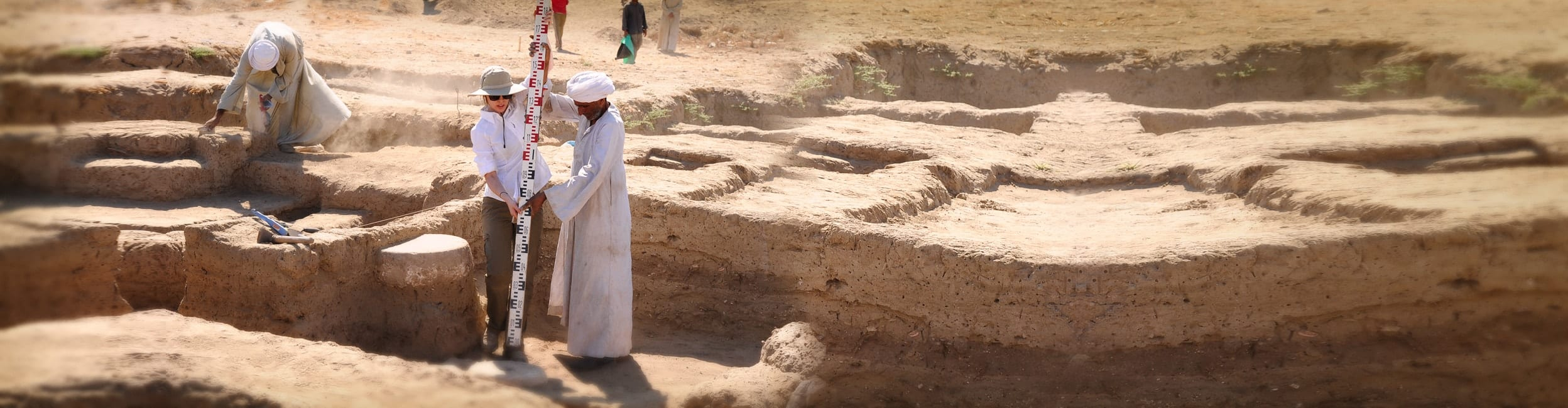 A team of Johns Hopkins researchers and students, led by Prof. Betsy Bryan, conducts fieldwork at the Temple of the Goddess Mut dig site in Luxor, Egypt.