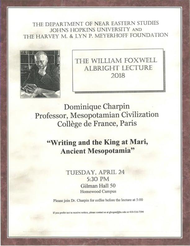 2018 Albright Lecture Features Dr. Dominique Charpin