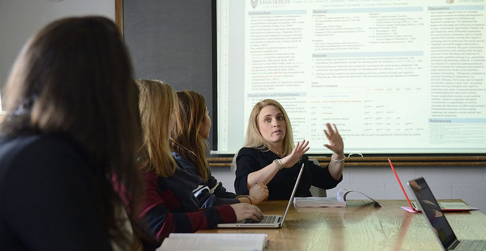 faculty in classroom explaining to students