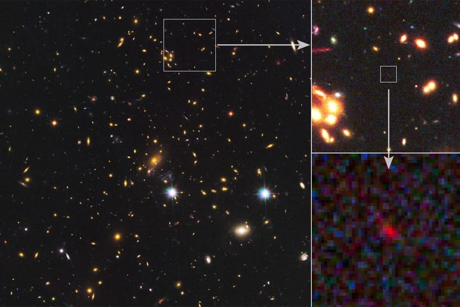 Astronomers Spy Distant Galaxy in Its Infancy