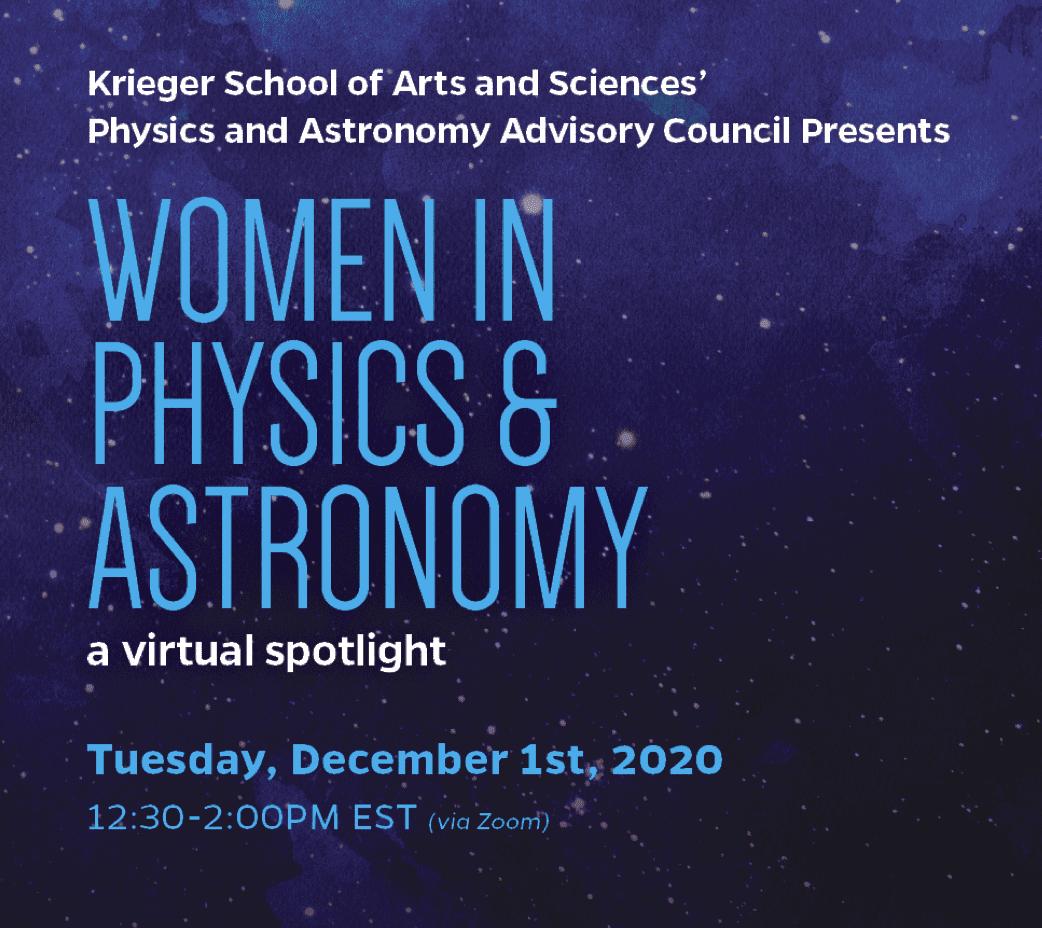 Women in Physics & Astronomy Spotlight – December 1, 2020, 12:30 – REGISTRATION OPEN