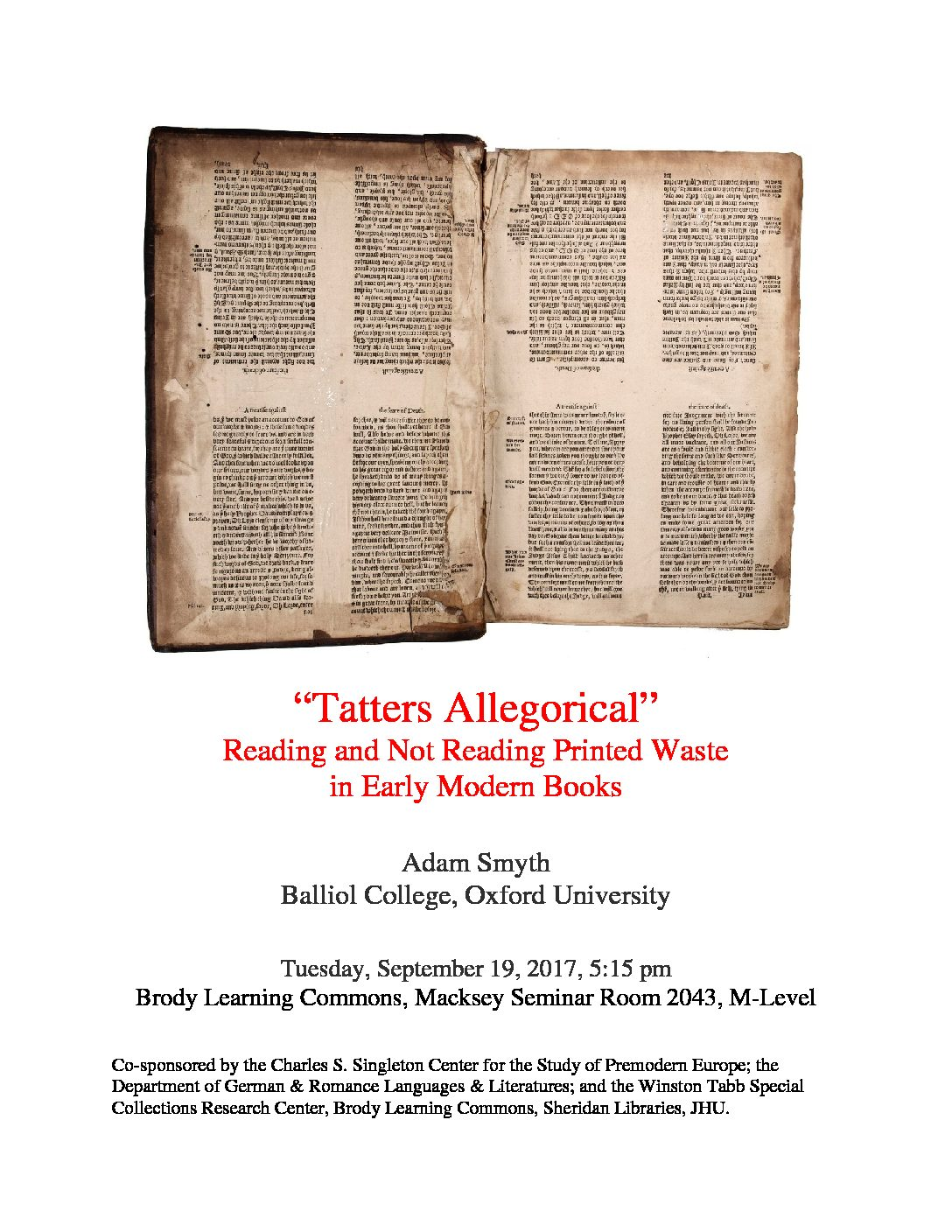 "Upcoming event: ""Tatters Allegorical"" Reading and Not Reading Printed Waste in Early Modern Books, Adam Smyth"