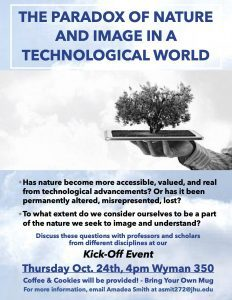 """Flyer for """"The Paradox of Nature and Image in a Technological World"""" humanities cluster event."""