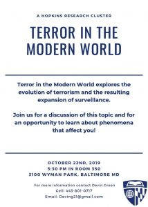 Flyer for Terror in the Modern World Humanities Cluster event.
