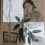 collage drawing of woman and plants