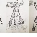figure drawings of people lifting weights