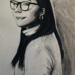 portrait drawing of woman with glasses