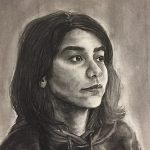 portrait drawing of woman with long dark hair