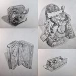 four still life drawings