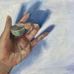 painting of a hand holding a small cup