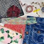collage painting of fabrics and denim