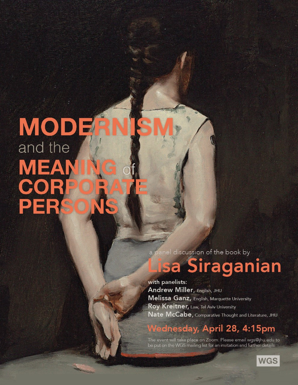 April 28, 4:15pm: A Panel Discussion of Lisa Siraganian's 'Modernism and the Meaning of Corporate Persons'