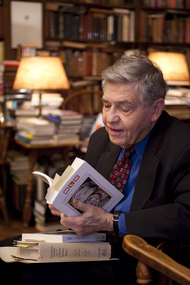 photo of Dick Macksey reading