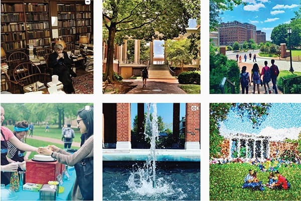 six images from instagram of campus: library, Krieger breezeway, dorms, picnic, a fountain, pointillism on the beach