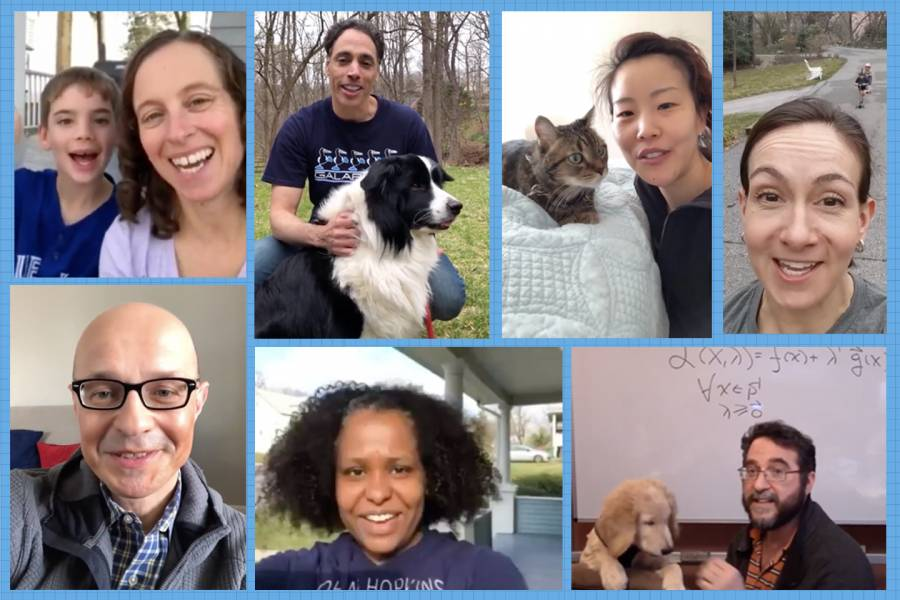 collage of faculty with dogs and kids