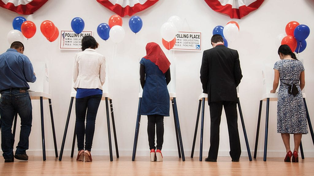 five people facing away from camera at voting booths
